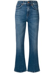 7 For All Mankind Flared Cropped Jeans Blue