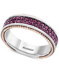 Effy Men's Ruby Band 1 1 2 Ct. T.W. In Sterling Silver 18K Rose Gold And Black Rhodium Plate Two Tone