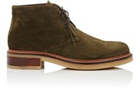 Barneys New York Women's Crepe Sole Suede Desert Boots Dark Green