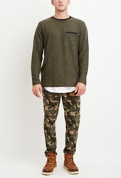 Forever 21 Drawstring Camo Print Pants Olive Taupe