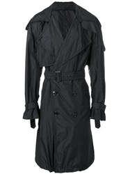 Juun.J Printed Back Trench Nylon Polyester Viscose Black