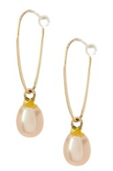 Candela 10K Yellow Gold 5.5Mm Cultured Freshwater Pearl Euro Hoop Earrings Pink