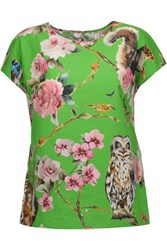 Dolce And Gabbana Printed Cotton Poplin Top Lime Green