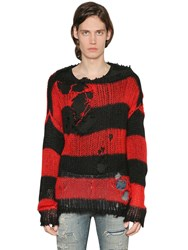 Faith Connexion Distressed Striped Mohair Knit Sweater