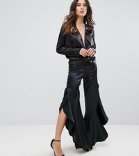 Lioness Trouser With Ruffle Side Detail Black