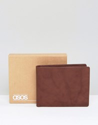 Asos Leather Wallet In Brown With Vintage Finish Brown
