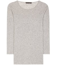 The Row Aile Cotton And Cashmere Top Grey