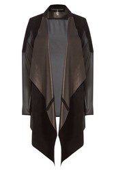 Sly010 Suede And Leather Jacket With Sheer Back Black