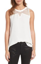 Trouve Women's Lattice Yoke Tank White Snow