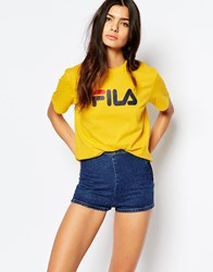 Fila Oversized Boyfriend T Shirt With Front Logo Yellow