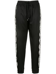 Tom Ford Floral Lace Inserts Track Pants Black