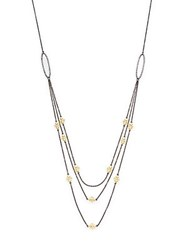 Freida Rothman Triple Chain Layered Necklace Silver Gold