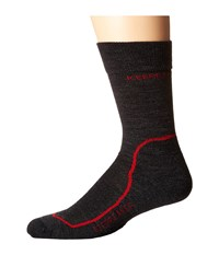 Icebreaker Hike Light Crew 1 Pair Pack Jet Heather Red Black Men's Crew Cut Socks Shoes