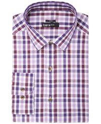 Bar Iii Men's Slim Fit Stretch Easy Care Burgundy Purple Check Dress Shirt Created For Macy's