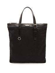 Saint Laurent Leather Trimmed Slim Canvas Tote Black
