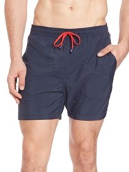 Saks Fifth Avenue Contrast Drawstring Swim Trunks Aqua Orange Navy