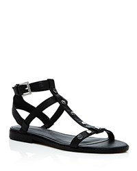 Rebecca Minkoff Sandy Studded Leather T Strap Sandals Black Silver