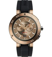 Versace V Extreme Bronze Ip Stainless Steel And Silicone Watch