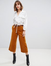 Esprit Cord Culotte Trousers In Mustard Yellow