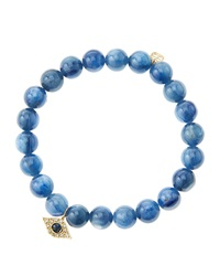 Sydney Evan 8Mm Kyanite Beaded Bracelet With 14K Yellow Gold Diamond Small Evil Eye Charm Made To Order Blue