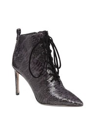 Delman Snakeskin Lace Up Boots Smoke Print