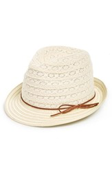 Women's Phase 3 Lace And Straw Trilby Hat