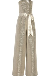 Oscar De La Renta Metallic Silk Blend Jumpsuit