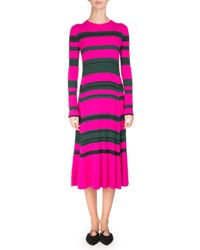 Proenza Schouler Striped Knit Long Sleeve Midi Dress Pink Green Pink Green