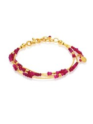 Gurhan Delicate Rain Ruby And 24K Yellow Gold Triple Strand Bracelet Gold Ruby