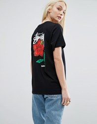 Stussy Oversized T Shirt With Script Logo And Rose Back Black
