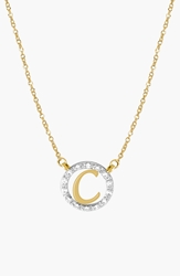 Jane Basch Designs Diamond Pave Initial Pendant Necklace Yellow Gold C
