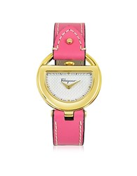 Salvatore Ferragamo Buckle Collection Gold Ip Stainless Steel Case And Fuchsia Leather Strap Women's Watch