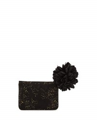 Neiman Marcus Gold Flecked Faux Suede Wallet Black
