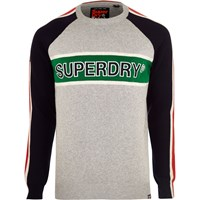 River Island Superdry Grey Color Block Sweater