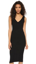 James Perse Long V Neck Sweater Dress Black