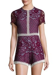 Alexis Rowen Embroidered Lace Romper Burgundy
