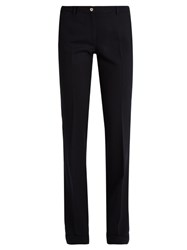 Miu Miu High Rise Wide Leg Wool Blend Trousers Navy
