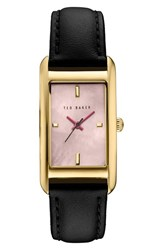 Ted Baker Women's London 'Bliss' Rectangle Case Leather Strap Watch 24Mm