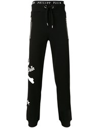 Philipp Plein Skull And Crossbones Logo Print Track Pants Black