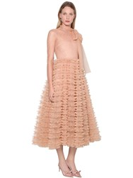 Red Valentino Crystal Embellished Tulle Midi Dress Nude