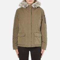 Maison Scotch Women's Hooded Short Down Jacket With Removable Fur Trim Green