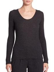 Akris Cashmere And Silk Ribbed Pullover Granite Off White