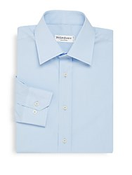 Yves Saint Laurent Solid Cotton Spread Collar Shirt Blue