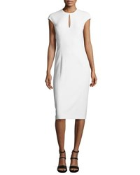 Ralph Lauren Crepe Keyhole Cap Sleeve Sheath Dress Ivory