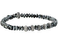 King Baby Studio 6.5Mm Snowflake Agate Rondelle Bead Bracelet With 5 Stingray Beads Snowflake Agate Bracelet Black