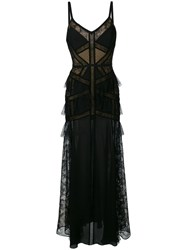Elie Saab Lace Panel Tiered Gown Black