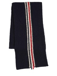 Thom Browne Stripe Intarsia Wool And Mohair Knit Scarf Navy