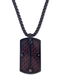 Esquire Men's Jewelry Dog Tag Pendant Necklace In Red Carbon Fiber And Black Ip Stainless Steel First At Macy's