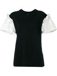 Mother Of Pearl Lace Panelled Jersey T Shirt Black