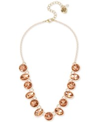 Betsey Johnson Pink Plated Gold Tone Multi Stone Collar Necklace